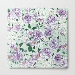 Vintage pastel green lavender watercolor floral roses Metal Print