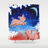 pigs Shower Curtains featuring 3 Pigs by Priscilla George