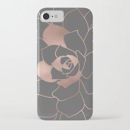 Rosegold  blossom on grey - Pink metal - effect flower iPhone Case