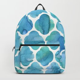 Watercolour Blue Moroccan Tile Print Backpack
