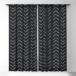 Mudcloth Big Arrows in Black and White Blackout Curtain