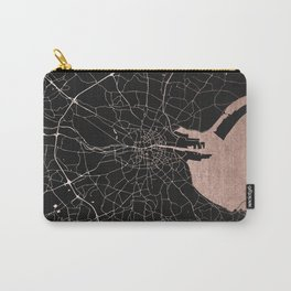 Black on Rosegold Dublin Street Map Carry-All Pouch
