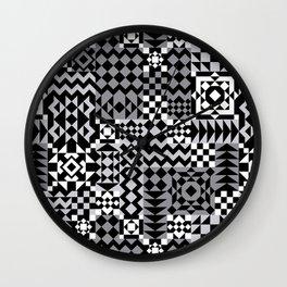 Grey Geo Patchwork Wall Clock