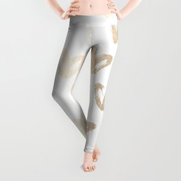 Luxe Gold Hearts on White Leggings