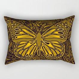 Gold Monarch Butterfly Rectangular Pillow
