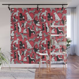 Geometric sweet wet noses // red watercolour texture background black and white dogs Wall Mural