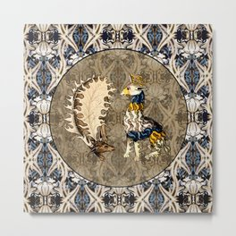 Tudor Pattern Book Reindeer and Panther Metal Print