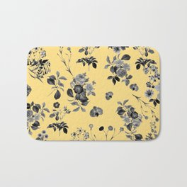 Black and White Floral on Yellow Bath Mat