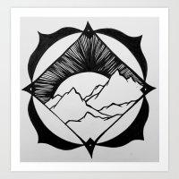 A Mountain Sun Art Print