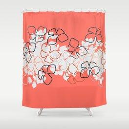 Coral Geraniums Shower Curtain