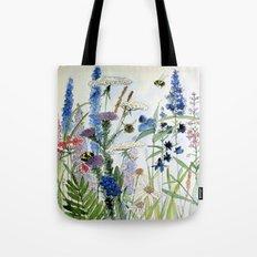 Wildflower in Garden Watercolor Flower Illustration Painting Tote Bag