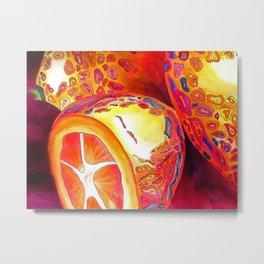 Orange kumquat citrus pop art watercolor fruit Metal Print