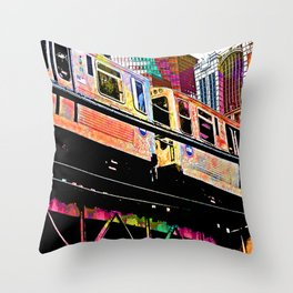 Chicago El - electric bright colorway Throw Pillow