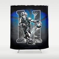 basketball Shower Curtains featuring Basketball by Alea Lefevre