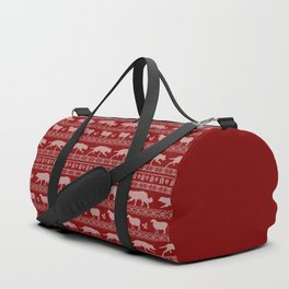 Ugly christmas sweater | Border collie red Duffle Bag