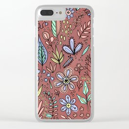 Flowers and Leaves Pattern Clear iPhone Case