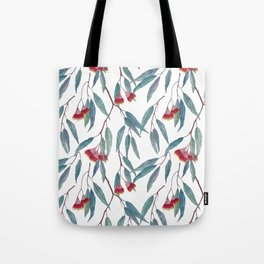 Eucalyptus leaves and flowers on light Tote Bag