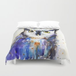 Owl, watercolor Duvet Cover