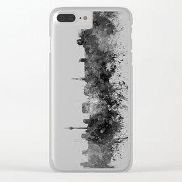 Dusseldorf skyline in black watercolor Clear iPhone Case