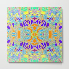 Turquoise Multi Colored Mosaic Style Pattern Metal Print