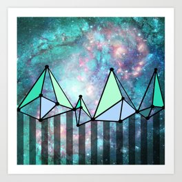 intergalactic mountains (collab) Art Print