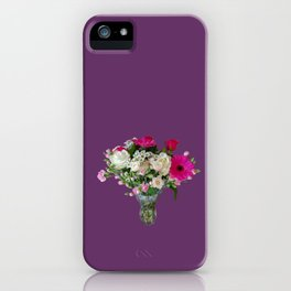 Flowers in a vase - pink gerberas, carnations, daisies, red and white roses iPhone Case