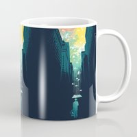 john green Mugs featuring I Want My Blue Sky by Picomodi