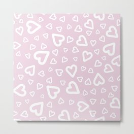 White doodle hearts over pink Metal Print