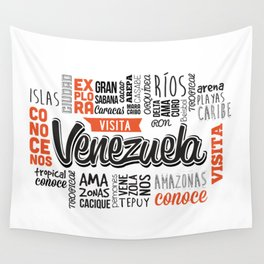 Venezuela Lettering Design - Black and white Wall Tapestry