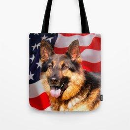 German shepherd Dog Patriot Red Blue White Tote Bag
