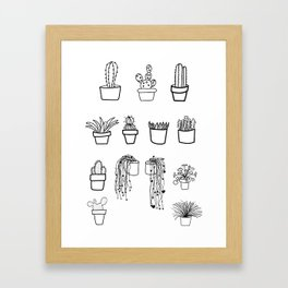 Cacti and Succulents Line Drawing Pattern Framed Art Print