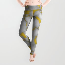 Marble and Gold Luxury Foil Leggings