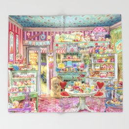 The Little Cake Shop Throw Blanket