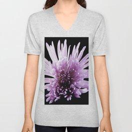 Large Purple Chrysanthemum-1 Unisex V-Neck