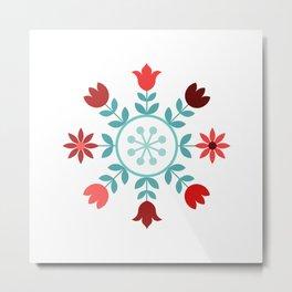 Scandinavian Style Flowers Teals & Reds Wheel Metal Print