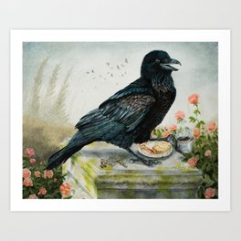 Breakfast With the Raven Art Print