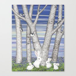 nuthatches, bunnies, and birches Canvas Print