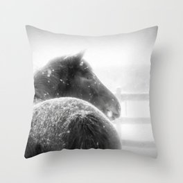 Horse in Winter when Snowing Painting Style Throw Pillow
