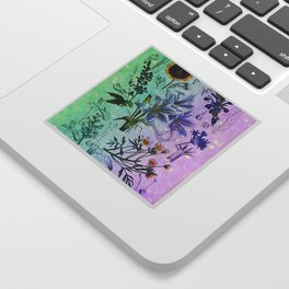 Botanical Study #2, Vintage Botanical Illustration Collage Art Sticker