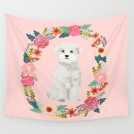 maltese floral wreath dog breed pet portrait pure breed dog lovers Wall Tapestry
