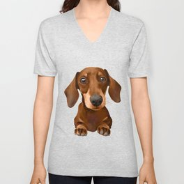 Chocolate and Tan Dachshund Unisex V-Neck