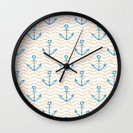 Anchors and waves Wall Clock