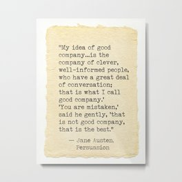 Jane Austen Persuasions quotes Metal Print
