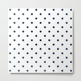 Navy Blue & White Polka Dots Metal Print