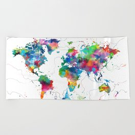 world map watercolor collage Beach Towel