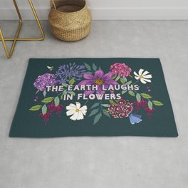 The Earth Laughs In Flowers, Dark Botanical Rug