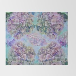 Watercolor hydrangeas and leaves Throw Blanket