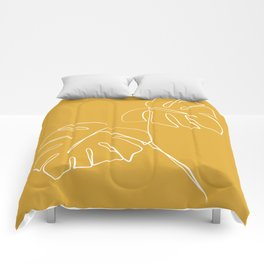 Monstera minimal - yellow Comforters