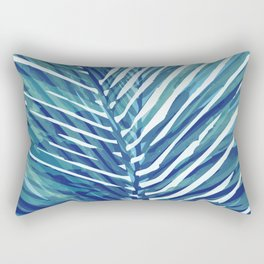 Abstract Palm Leaves | Blue Rectangular Pillow
