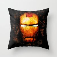 iron man Throw Pillows featuring Iron Man by Sirenphotos